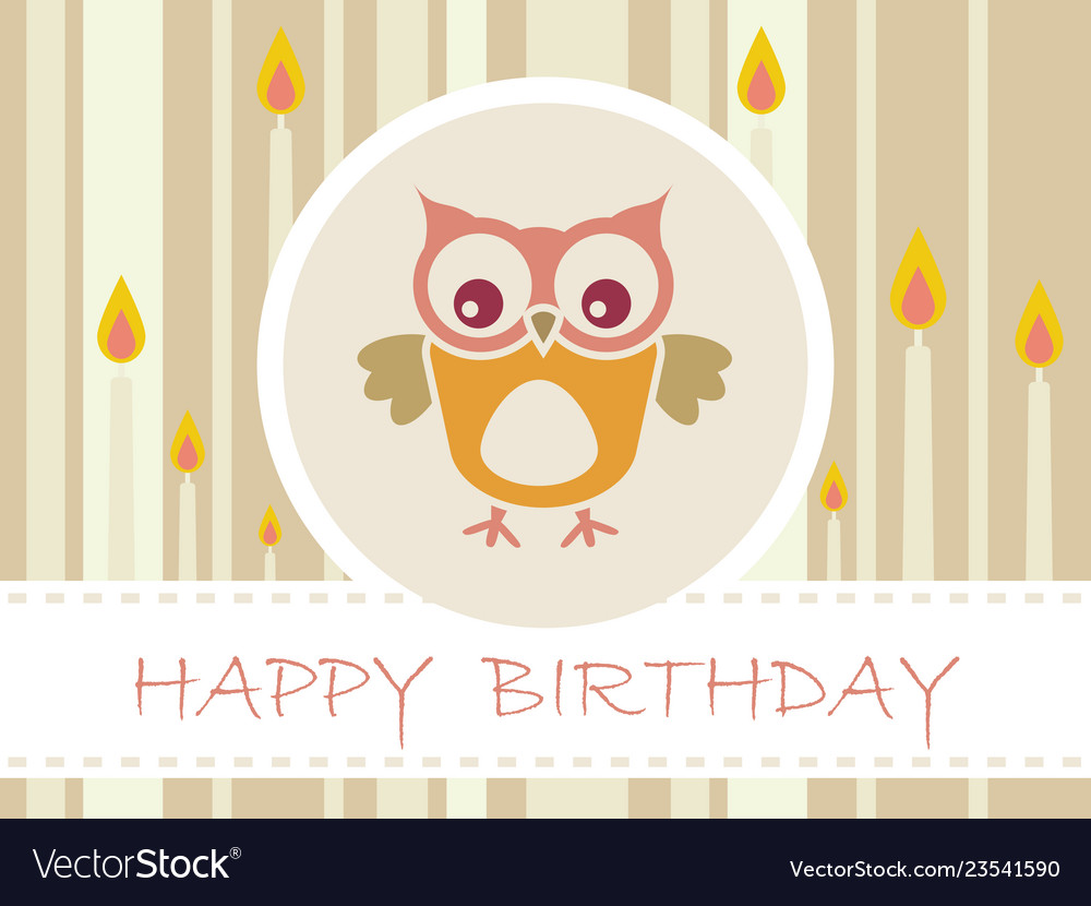 Flat design birthday party card with cute owls