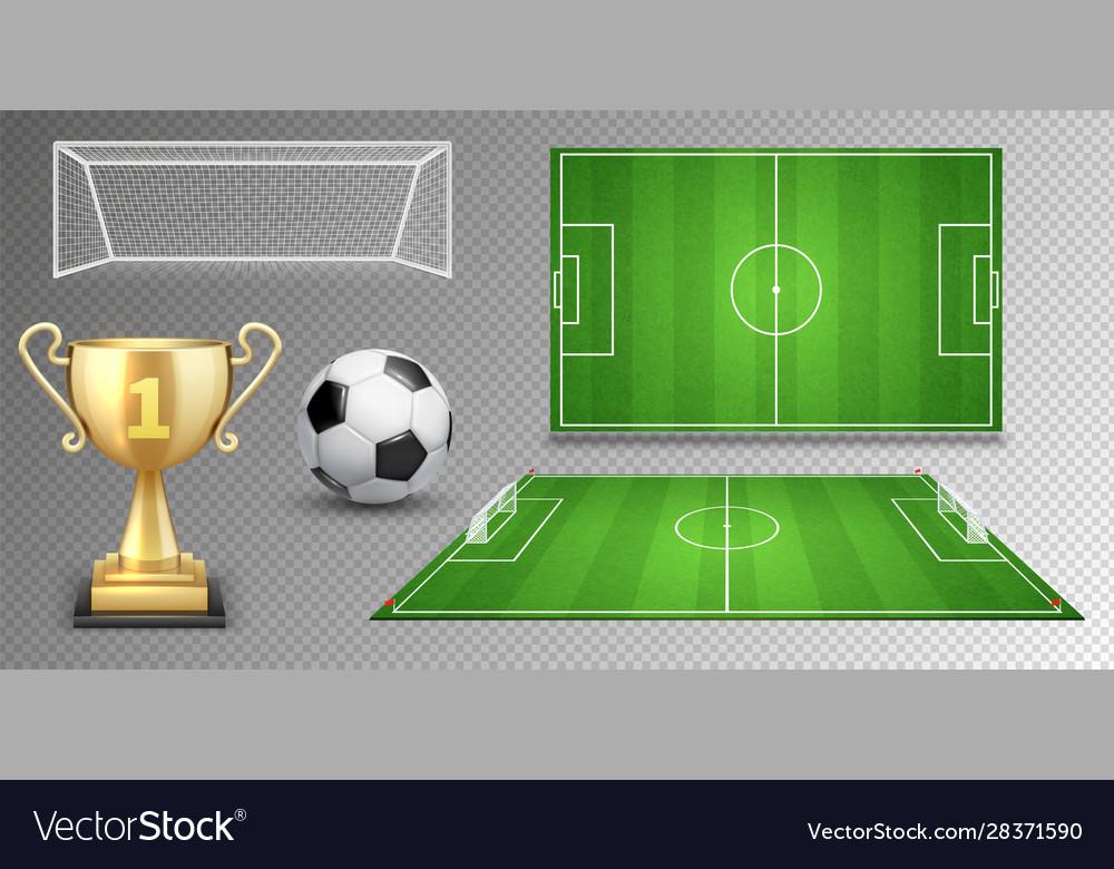 Football elements soccer ball golden cup