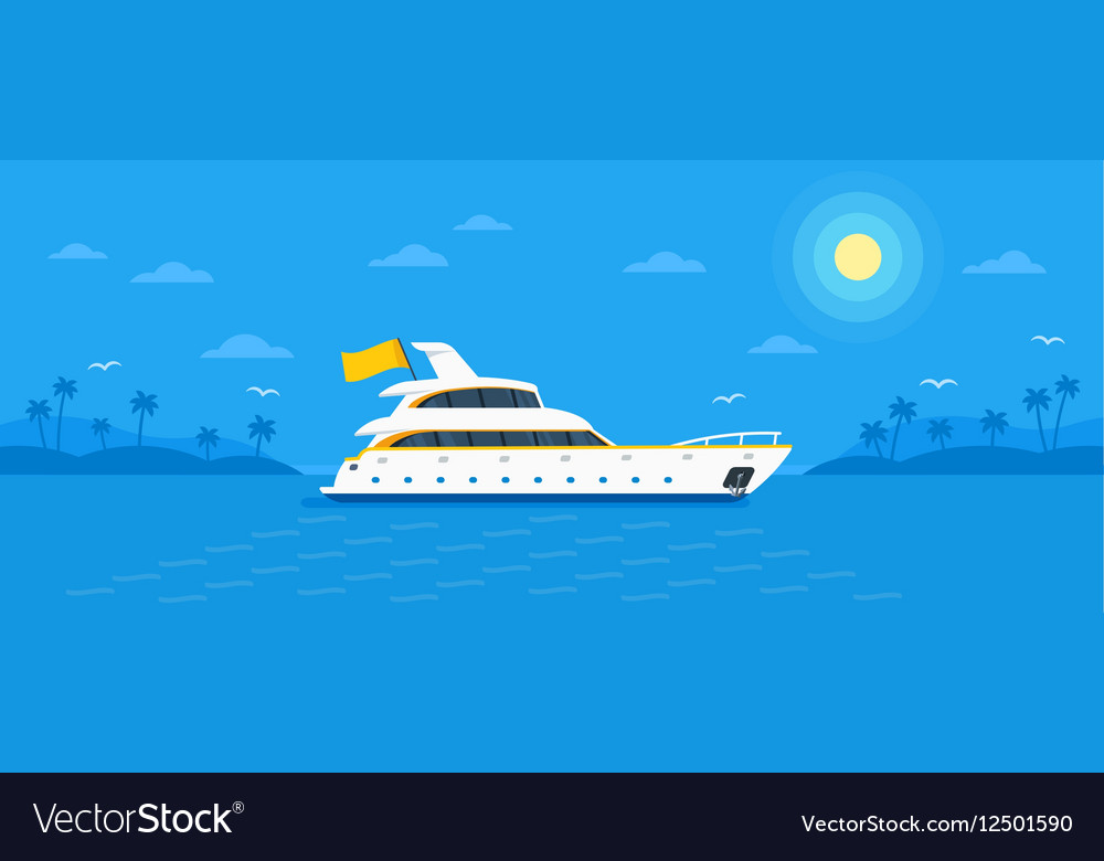Motor yacht boat flat