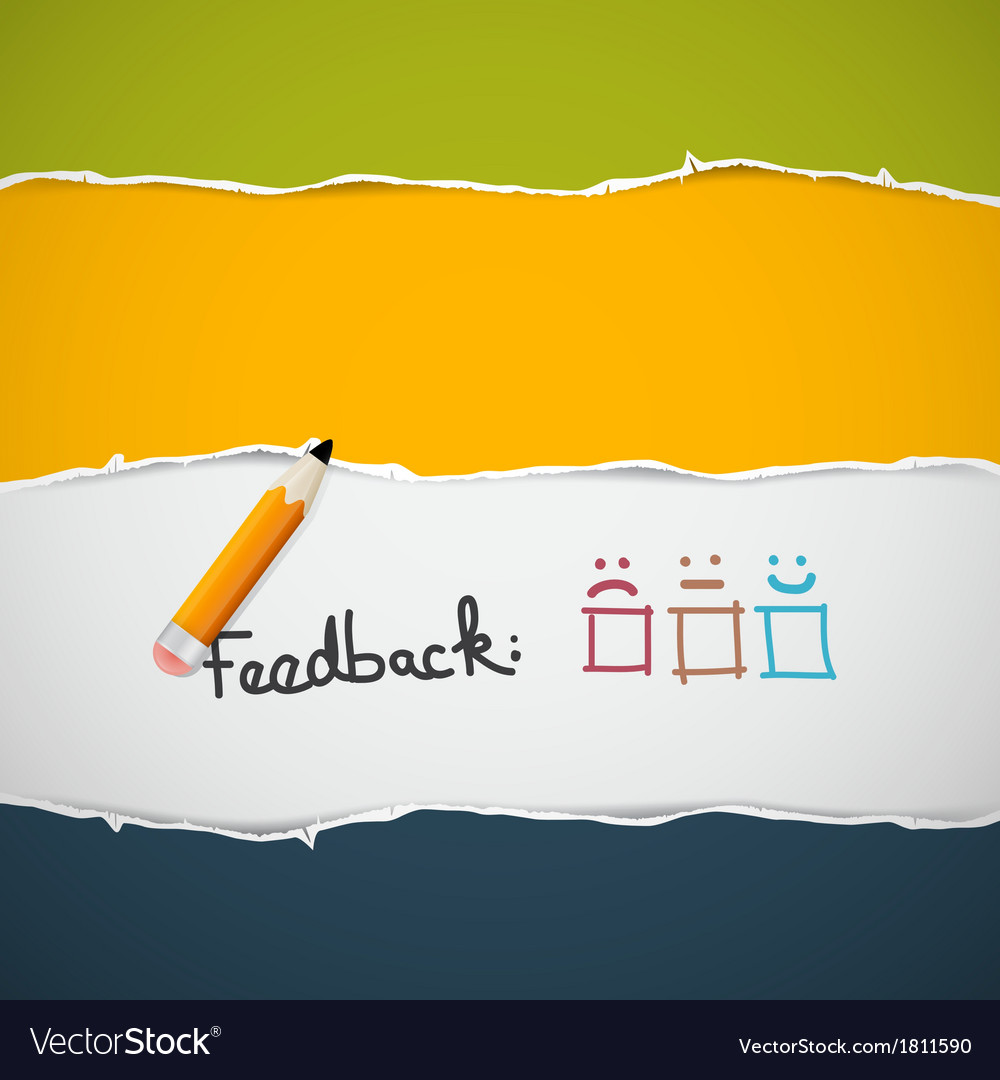 Retro Torn Paper Feedback Background with Pencil vector image