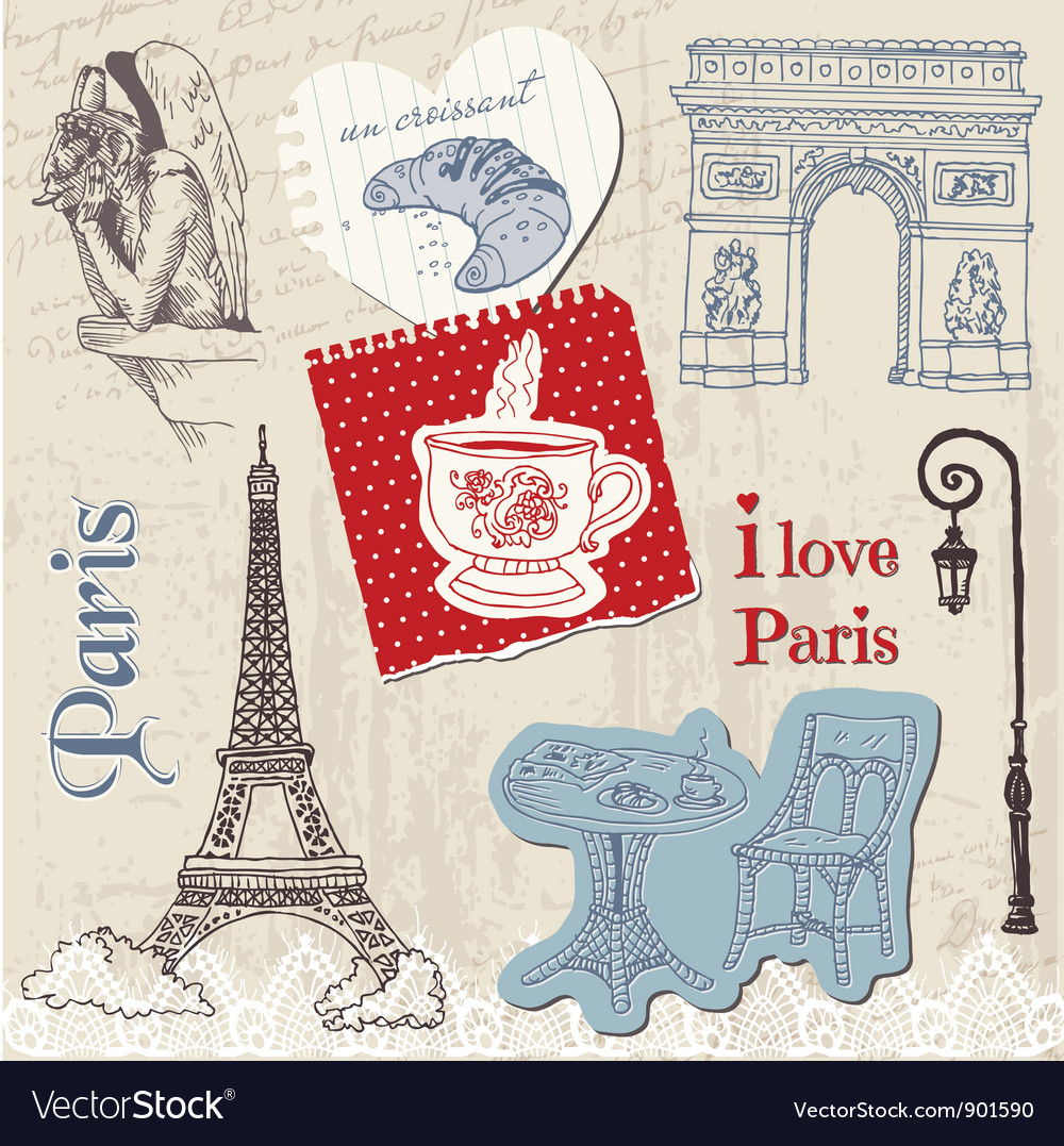 Scrapbook Design Elements - Paris Vintage Set