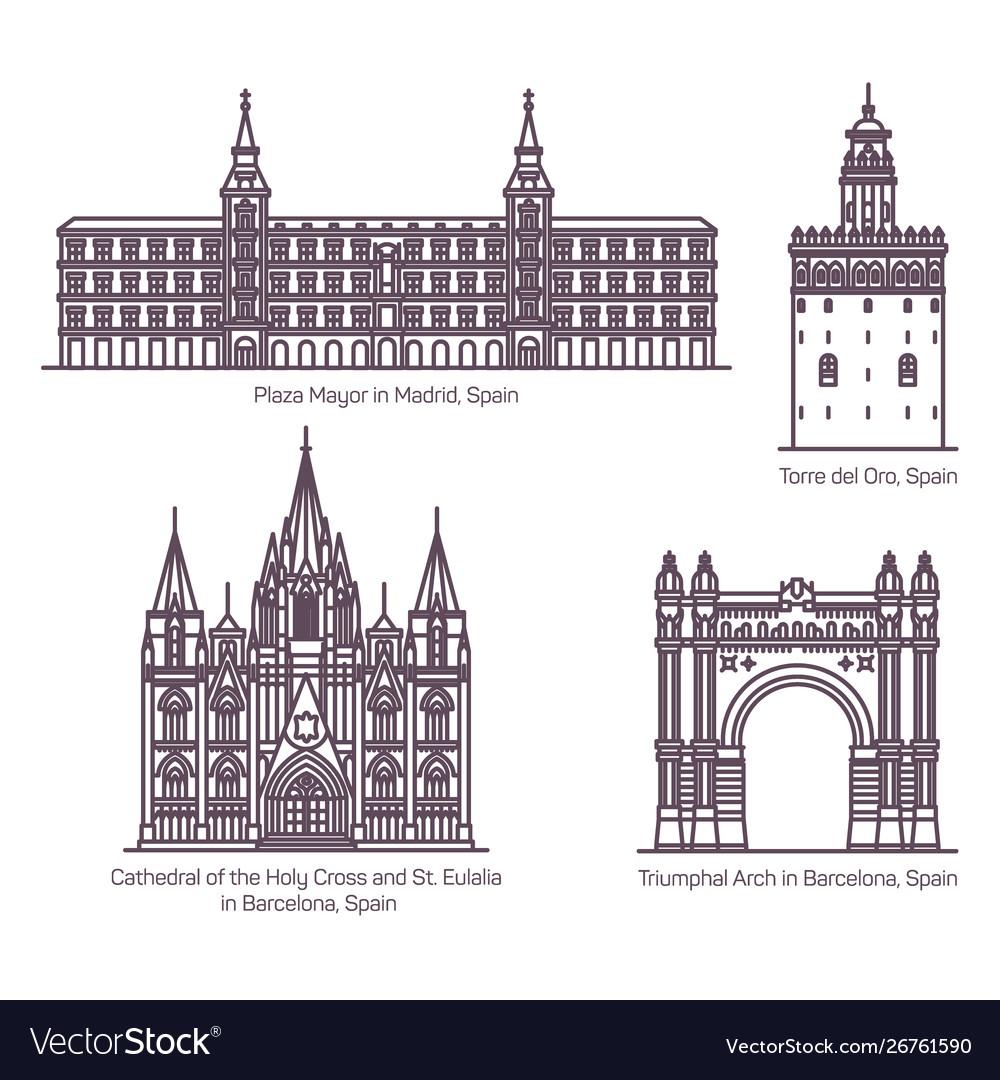 Thin line style spain architecture landmarks