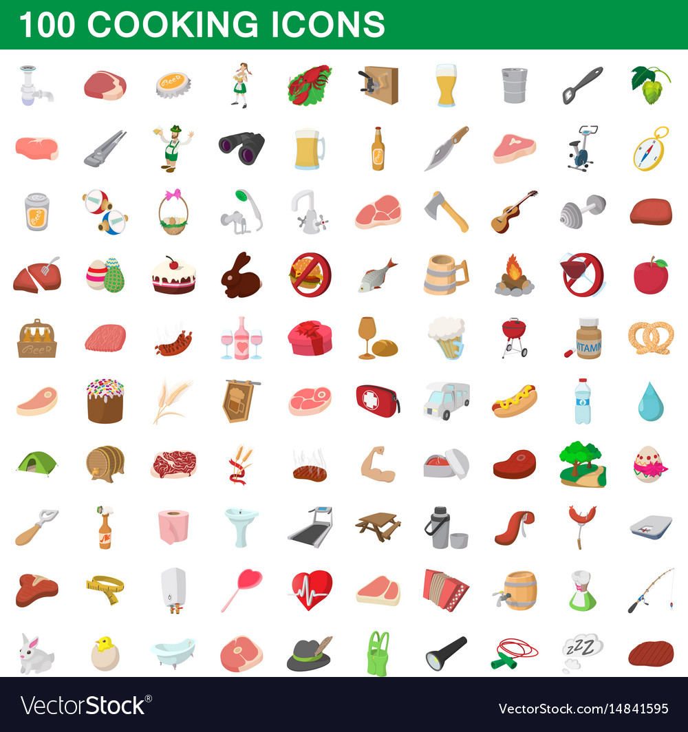 100 cooking icons set cartoon style