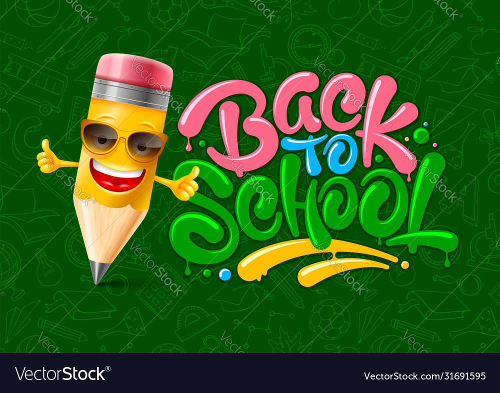 Back to school design with cartoon pencil