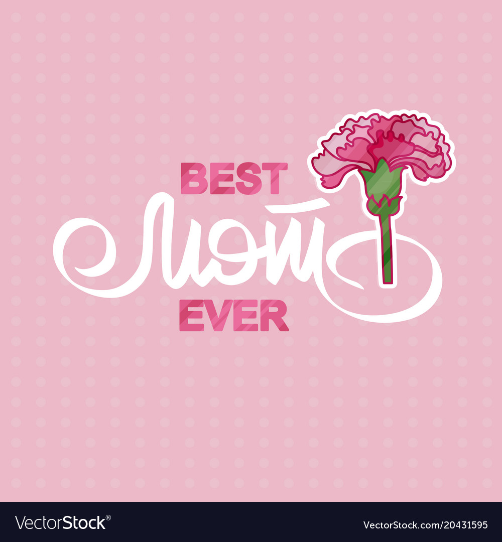 Best mom ever greeting card with pink carnation