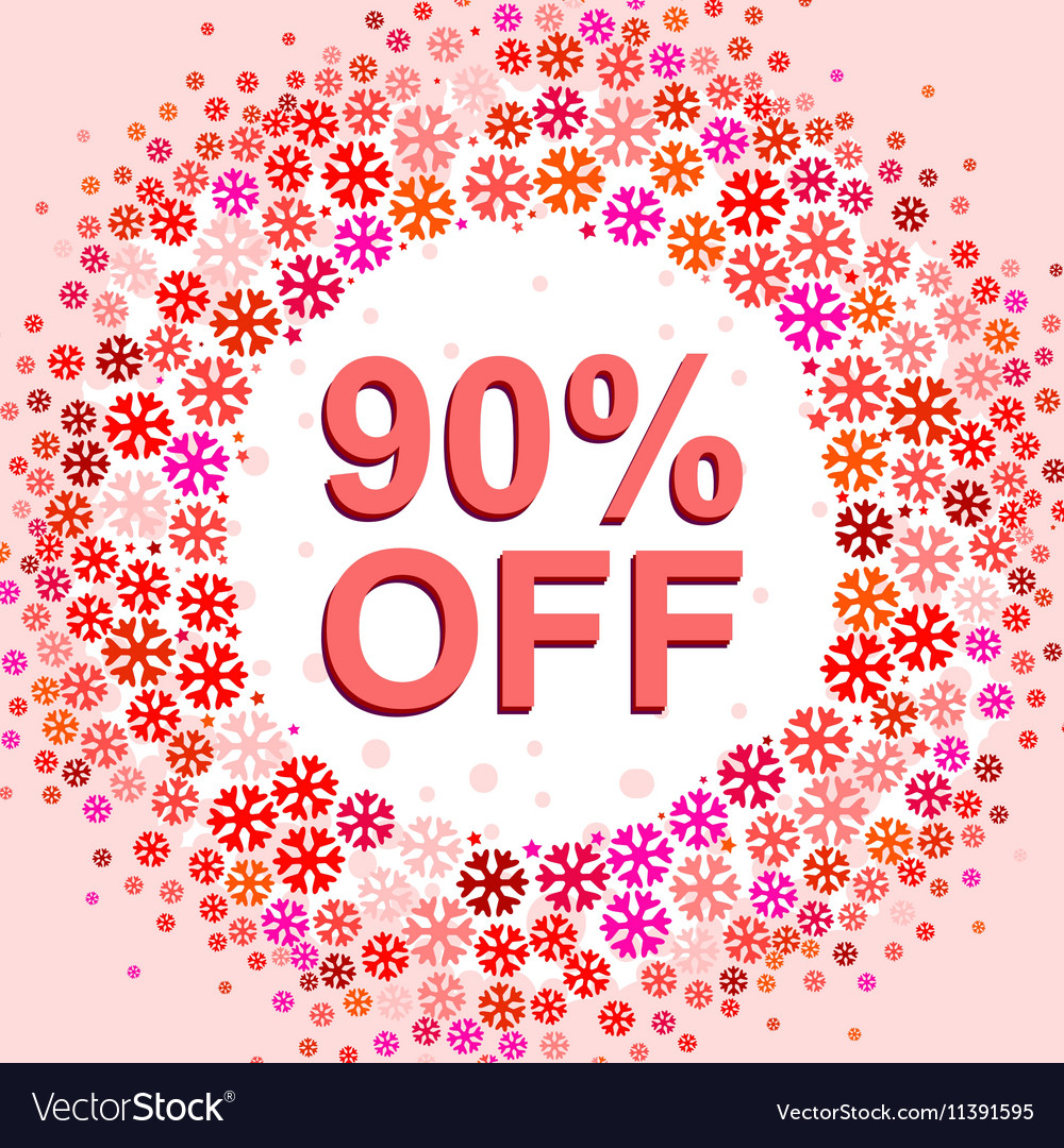 Big winter sale poster with 90 PERCENT OFF text
