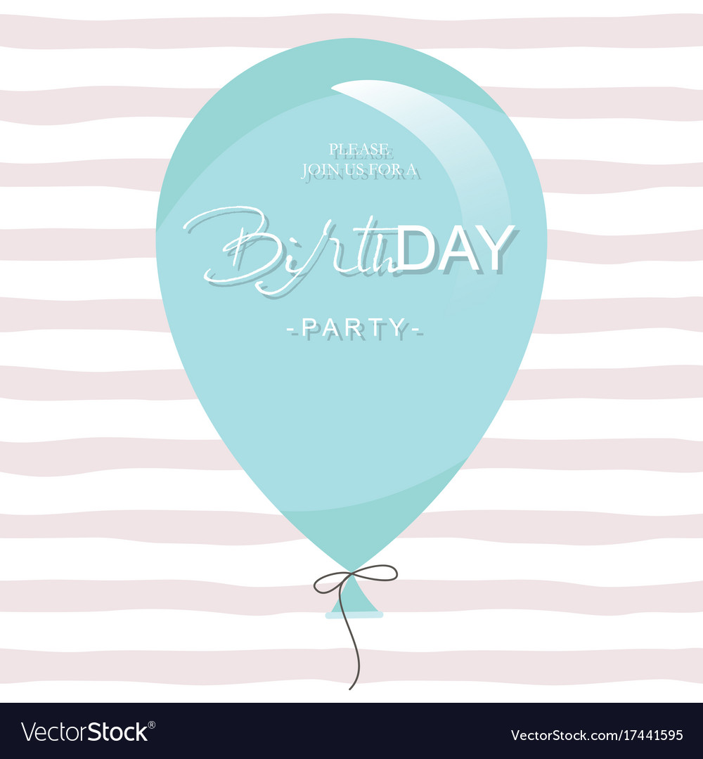 Birthday Party Invitation Card Template Blue