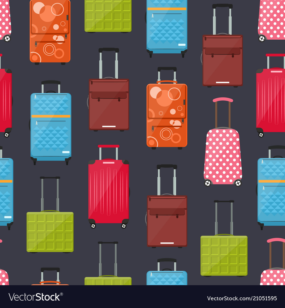 Cartoon travel suitcase seamless pattern