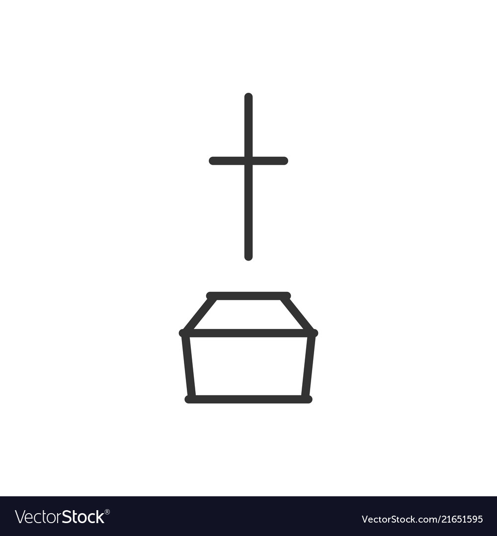 Coffin and cross line icon