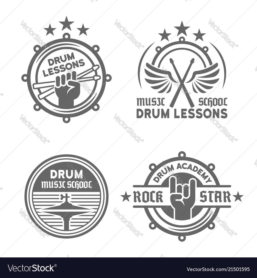Drum school or drum lessons vintage emblems