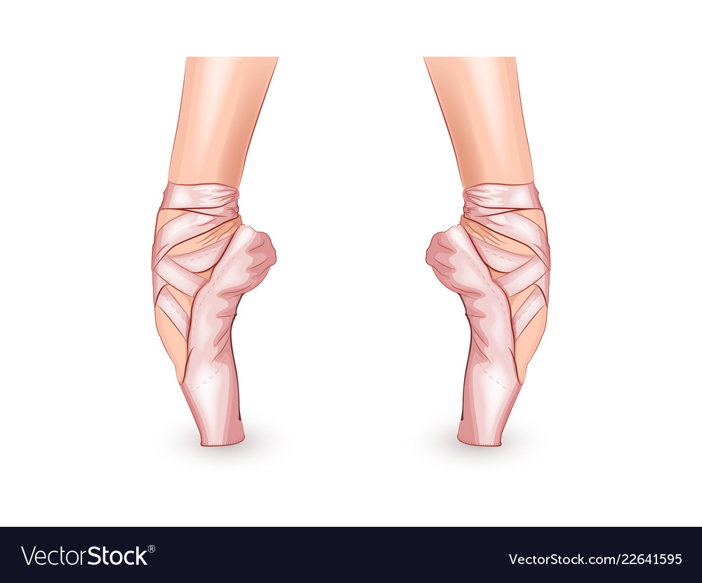 Feet Of The Ballerina In Pointe Shoes Royalty Free Vector