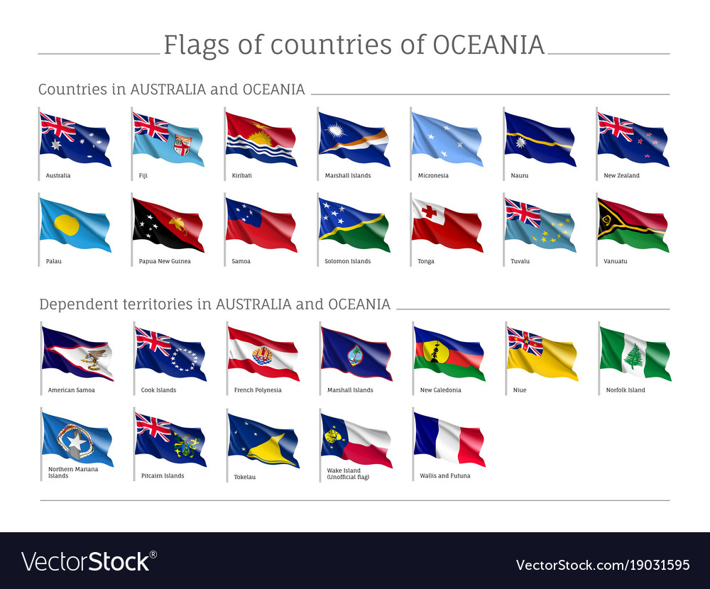 Flags Australia And Oceania Realistic Style Big Vector Image