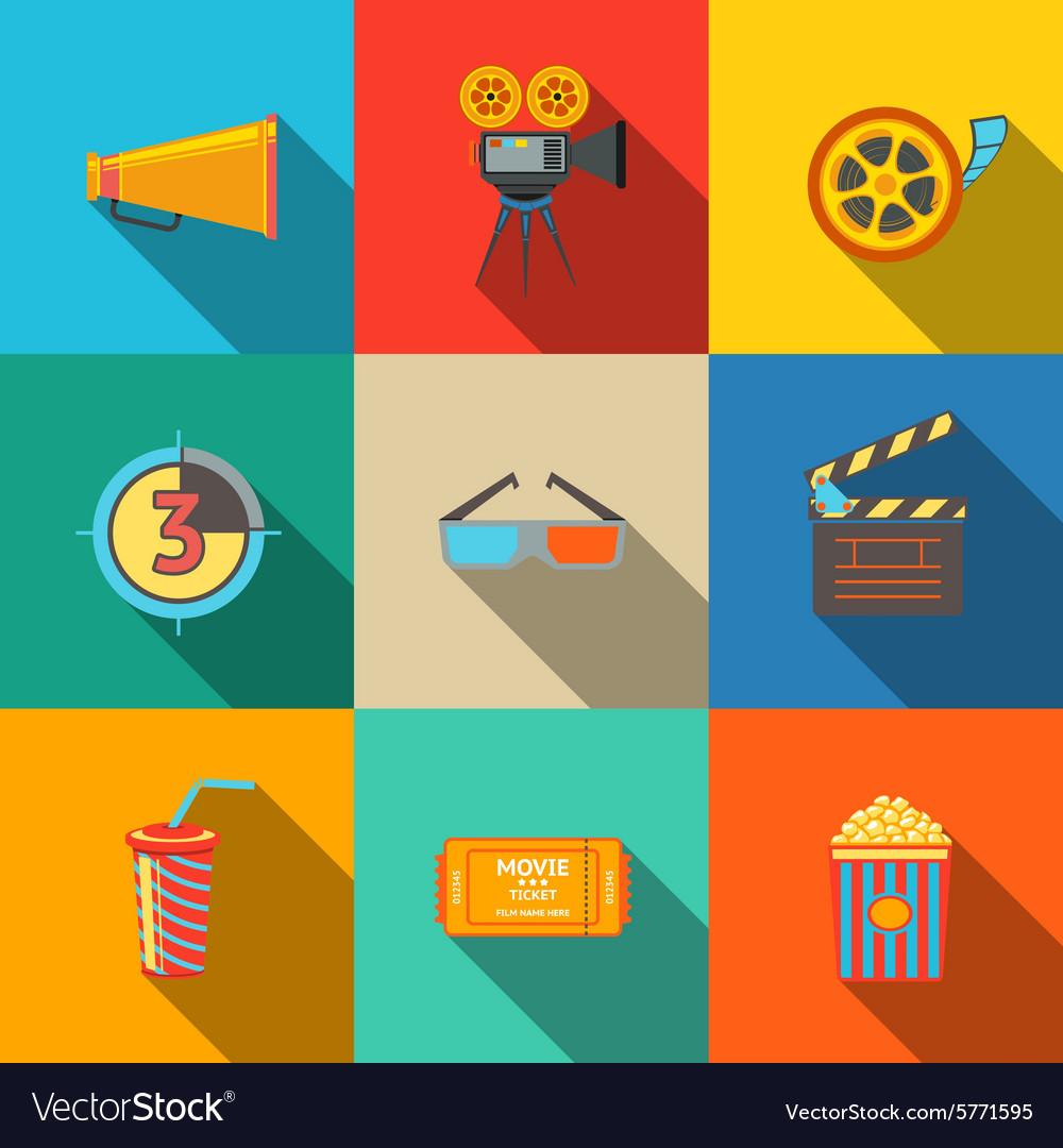 Flat modern cinema movie icons set - projector