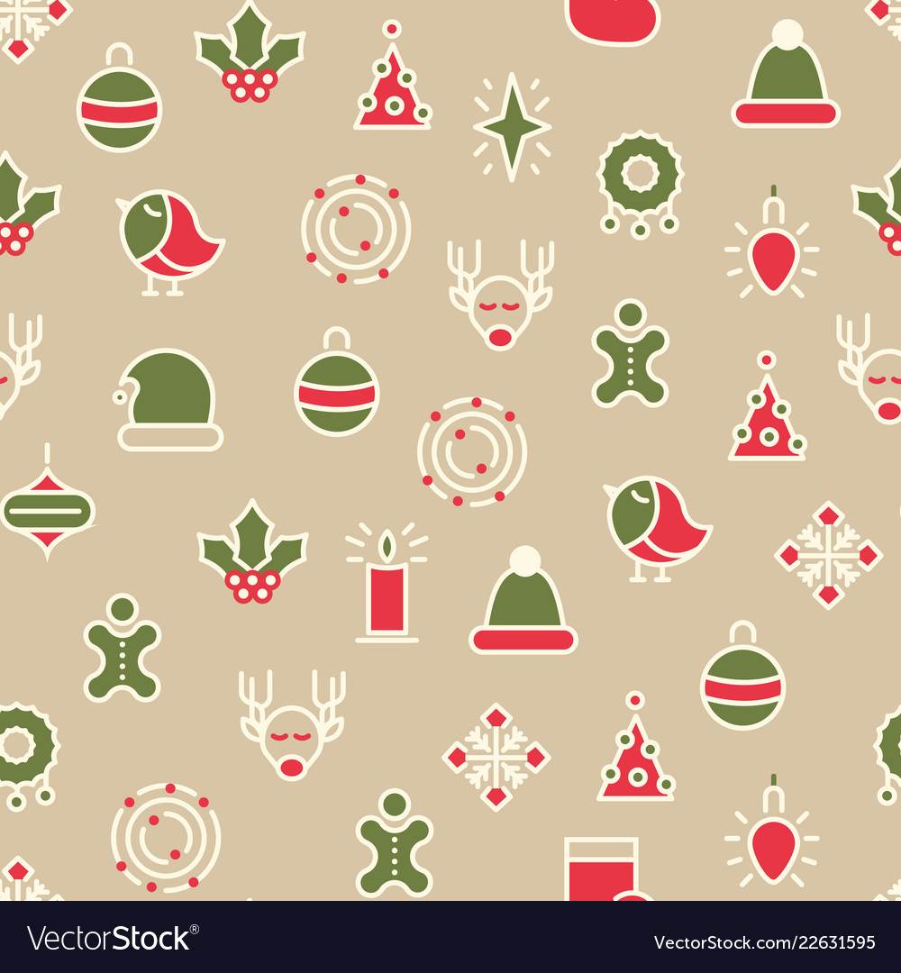 Happy christmas symbols seamless pattern
