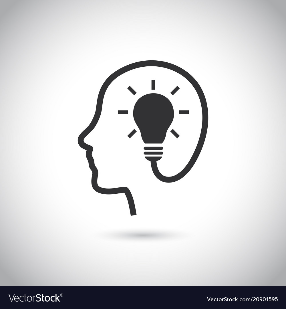 Head with bulb icon on gray background vector image