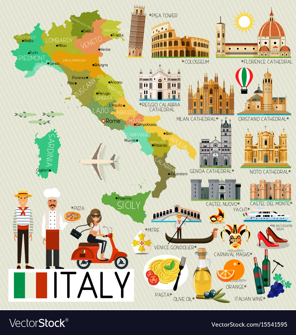 Italy travel map Royalty Free Vector Image - VectorStock