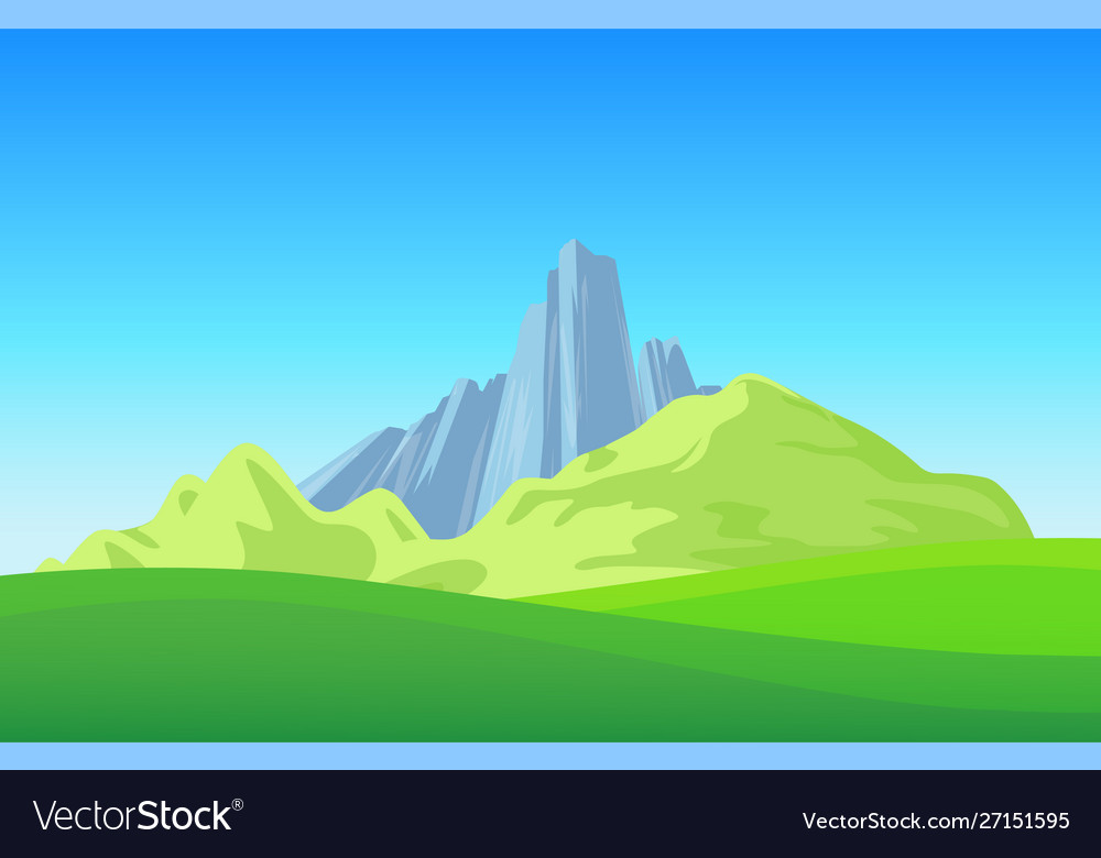 Mountains with green field on landscape wallpaper