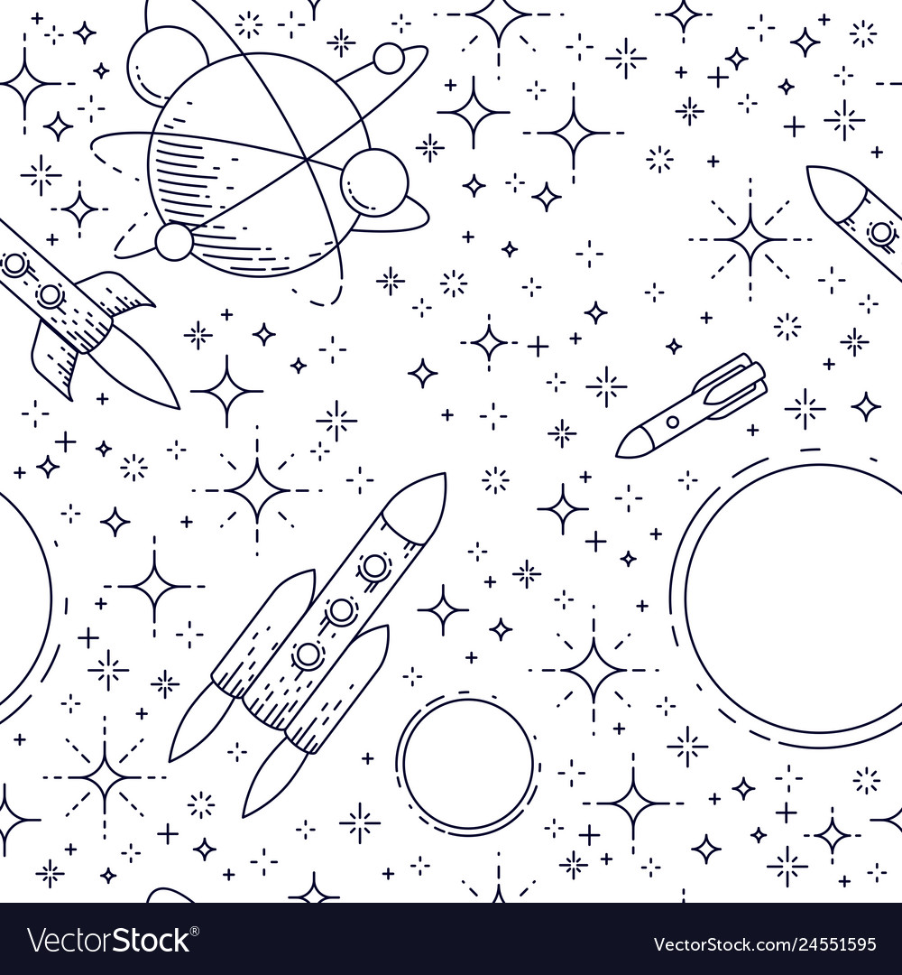 Seamless space background with rockets planets