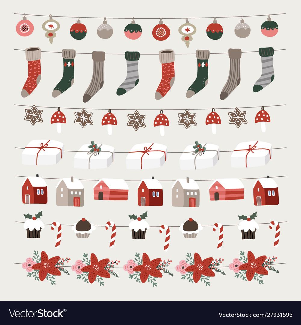Set christmas holiday decorative borders