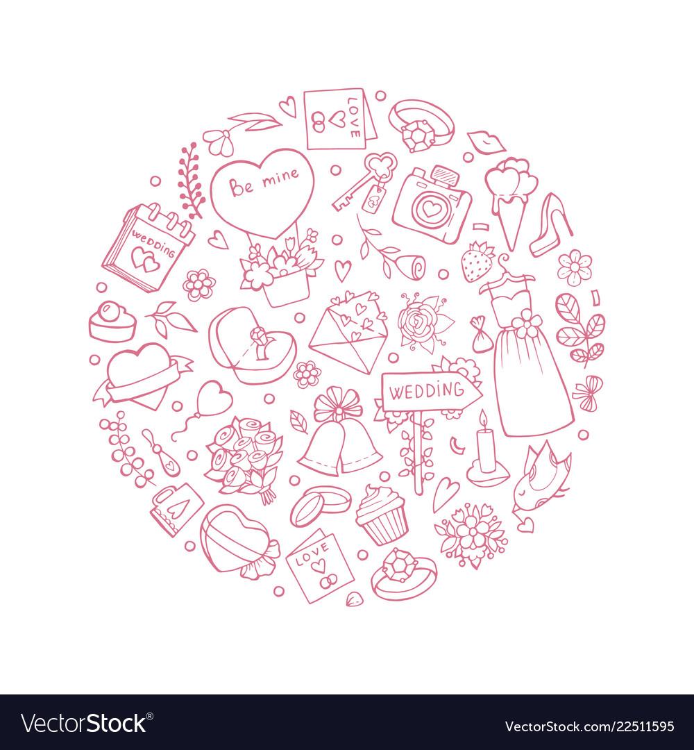 Wedding symbols in circle shape