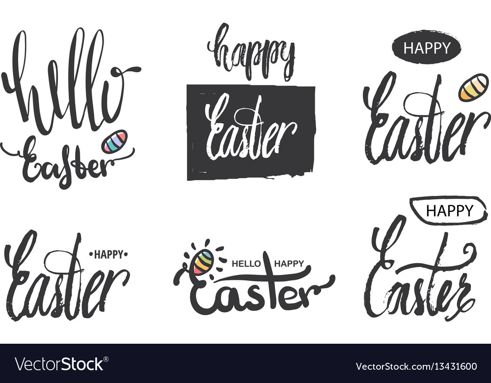 A collection of logos and emblems hello easter and