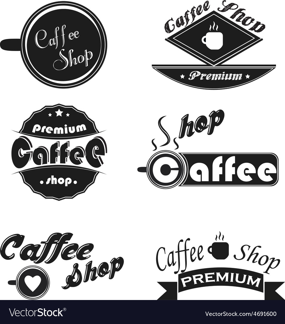 Caffee icons set on a white background
