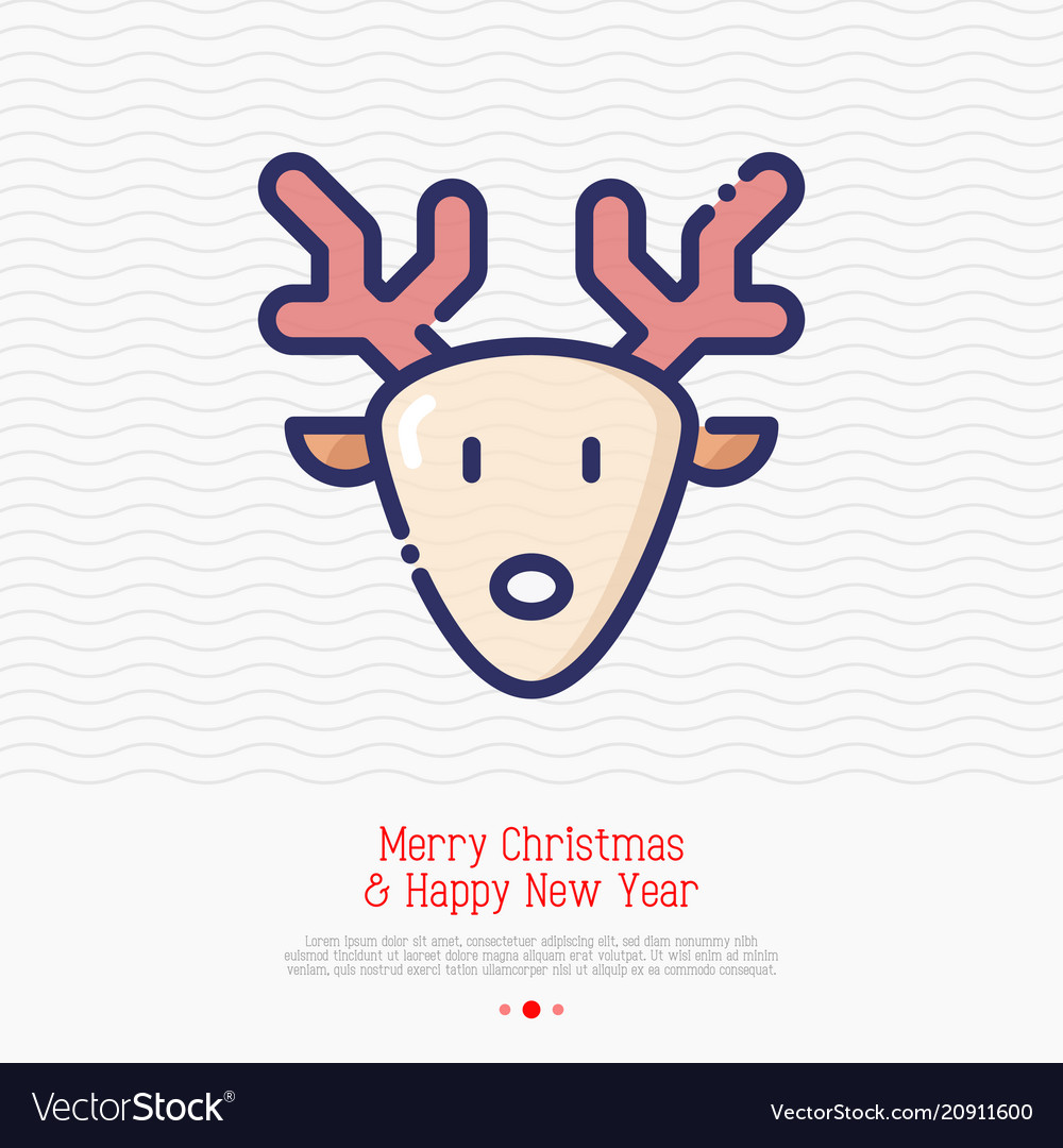 Cartoon deer with antlers thin line icon