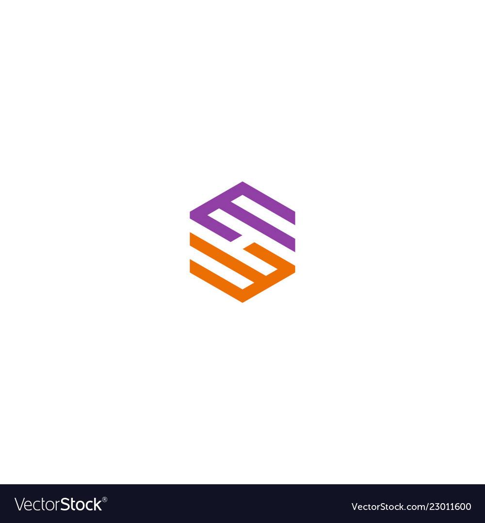 Circle shape line polygon colored logo