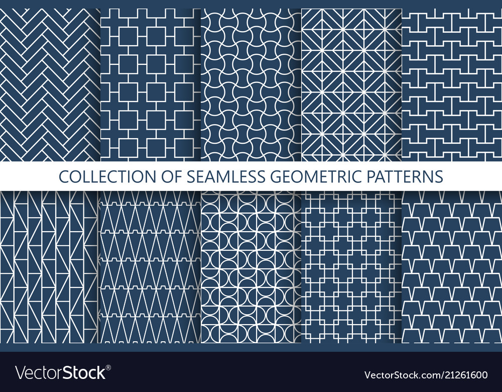 Collection geometric seamless patterns grid