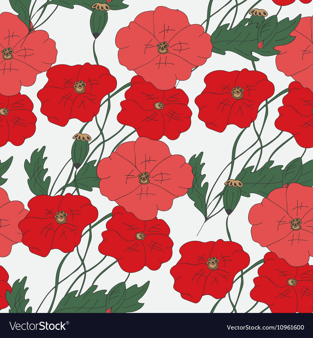 Colorful hand drawn poppies - seamless pattern
