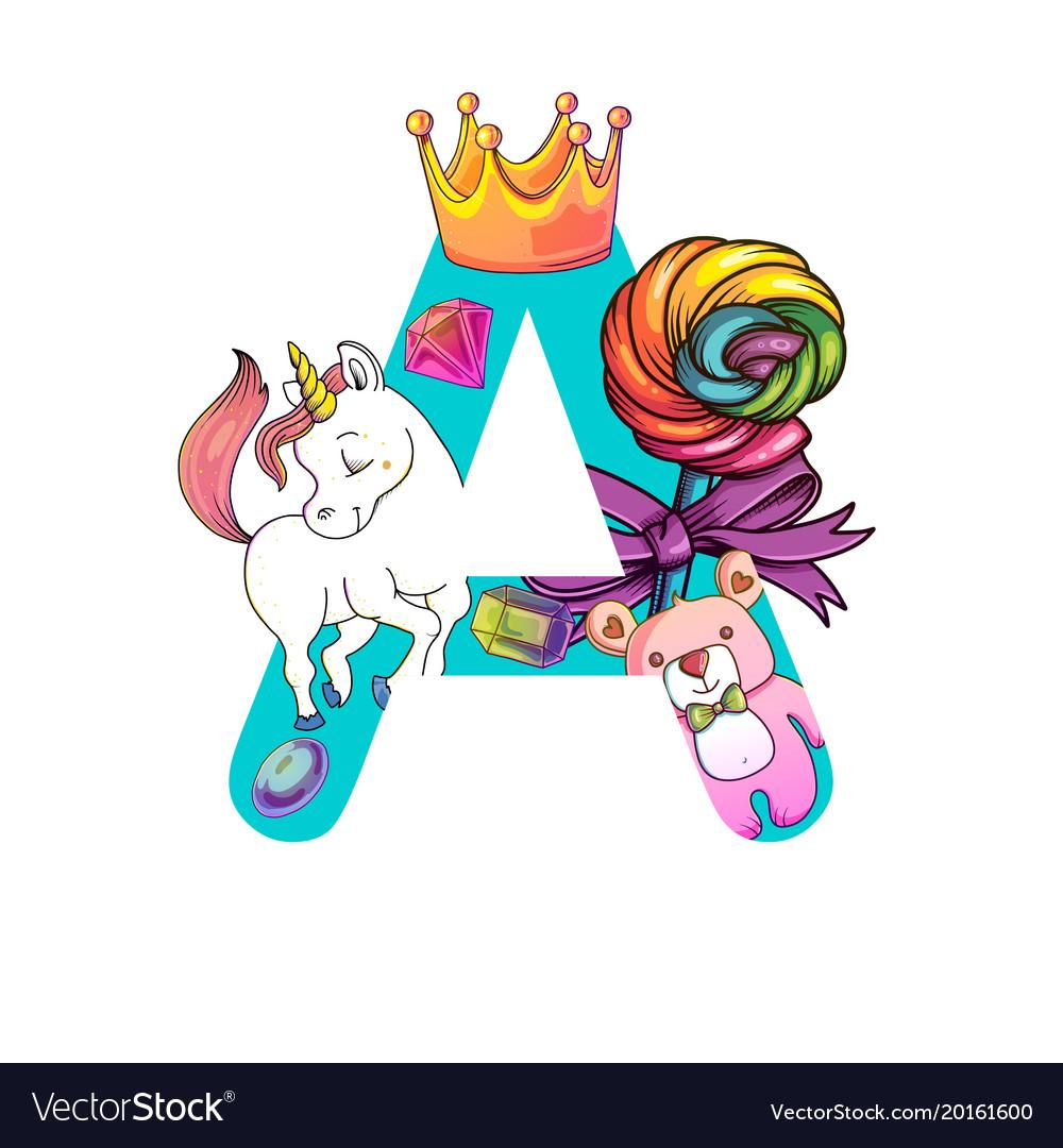 Cute magic letter a Royalty Free Vector Image   VectorStock