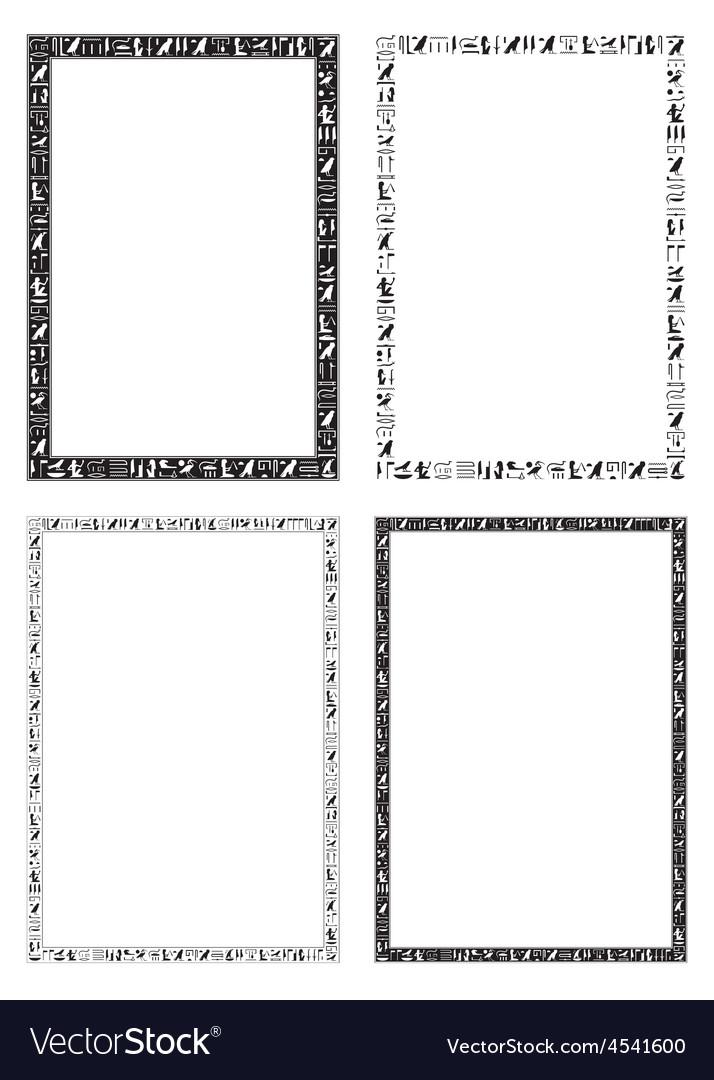 Egyptian hieroglyphic decorative frames