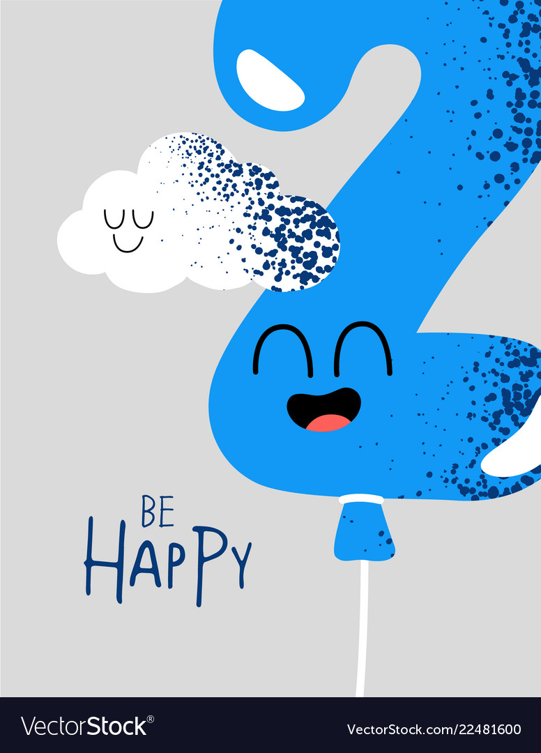 Funny happy birthday gift card number 2 balloon