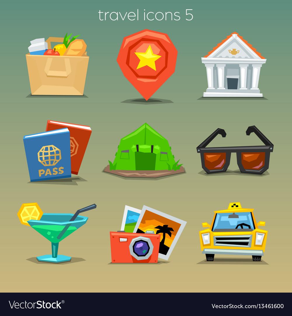 Funny travel icons-set 5