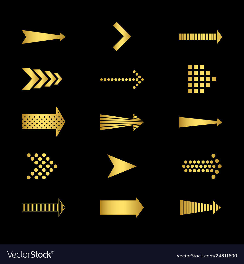 Golden arrows icons on black background set