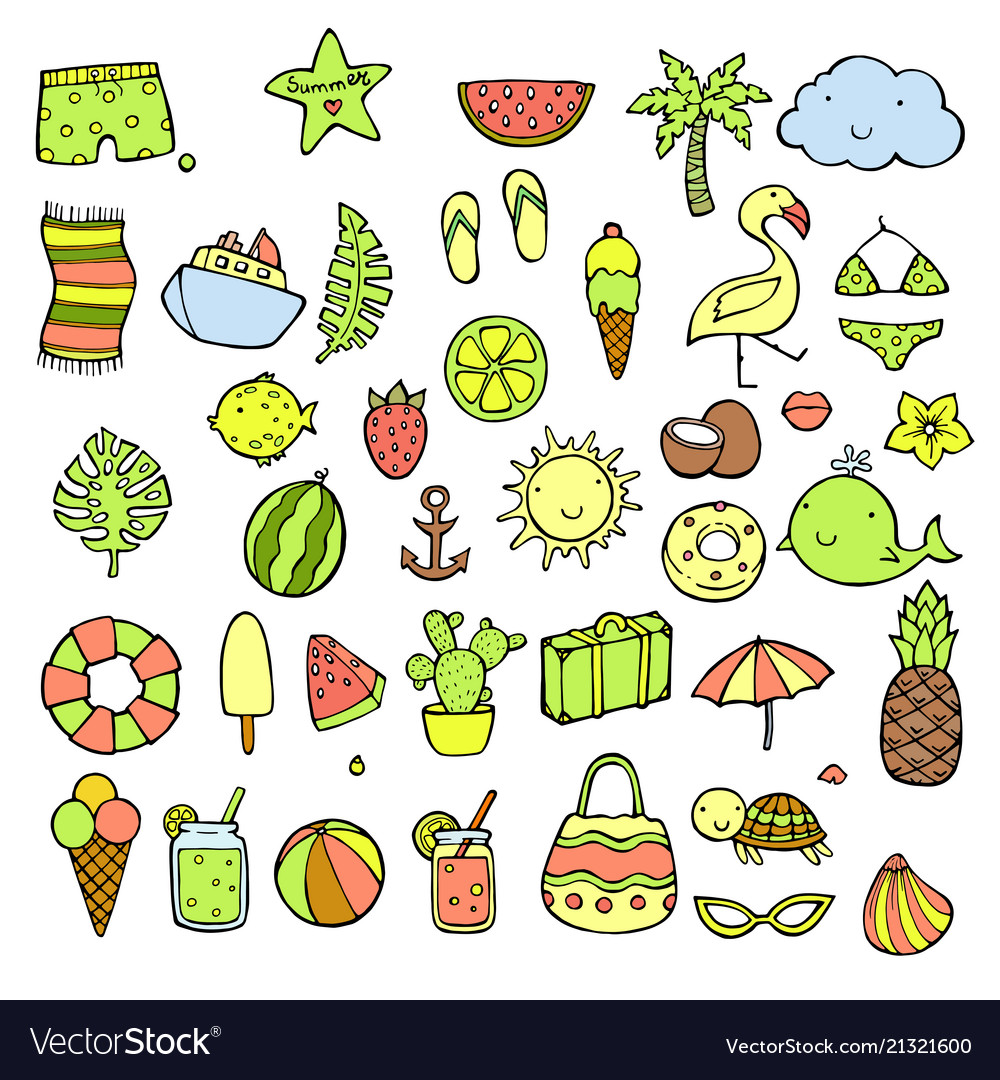 Hand drawn summer icons set doodle icon style