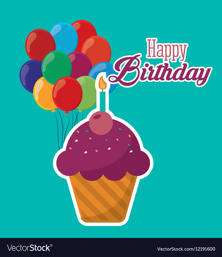 Happy Birthday Cupcake Candle Ed Balloons Vector Image