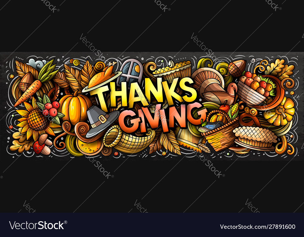 Happy thanks giving hand drawn cartoon doodles