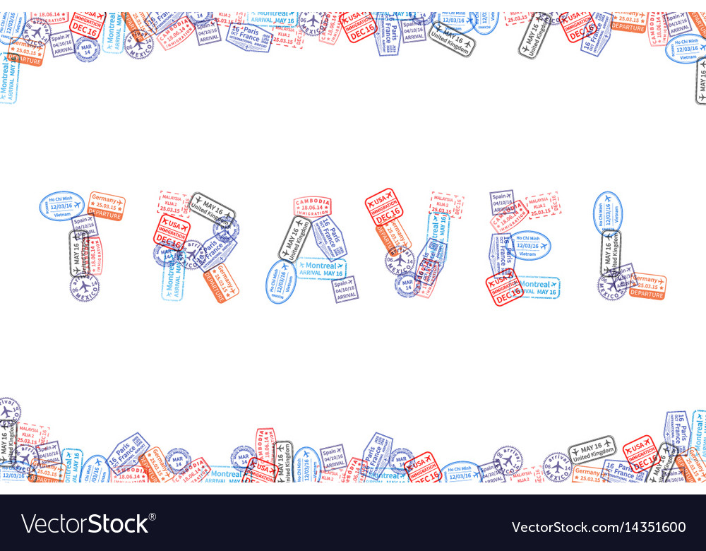Immigration rubber stamp imprints arranged in word vector image