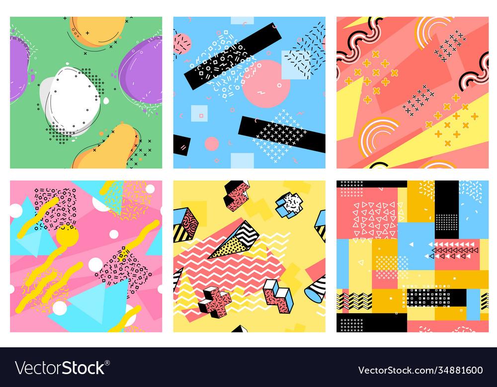 Memphis seamless pattern hipster postcards