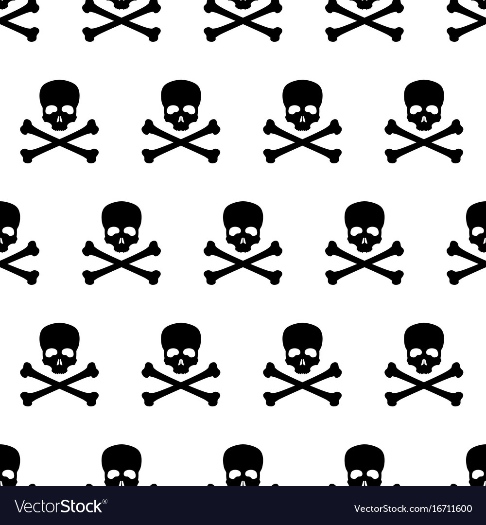 Seamless pattern with skull and bones