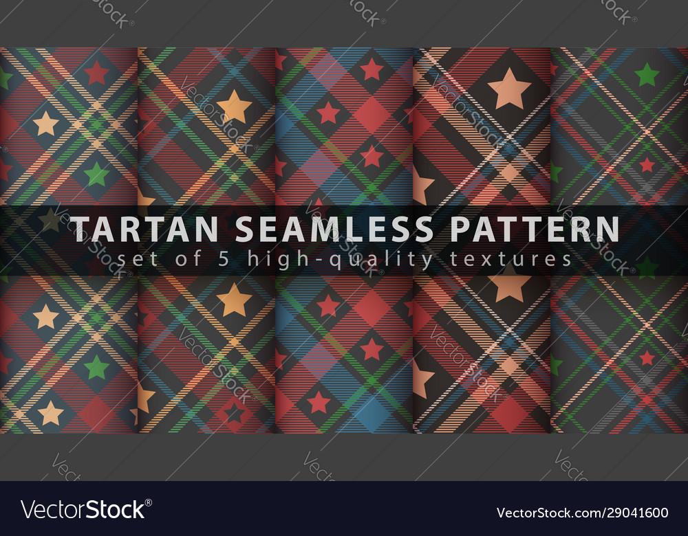 Set star tartan seamless pattern