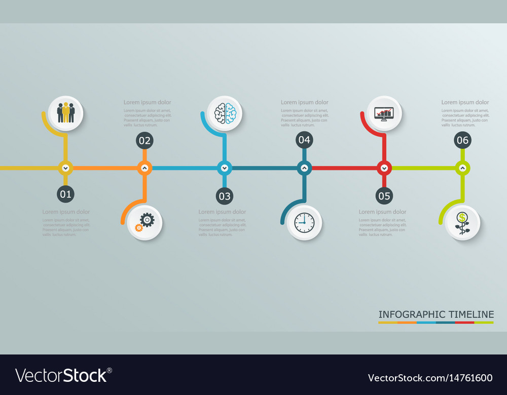Timeline graph with business icons
