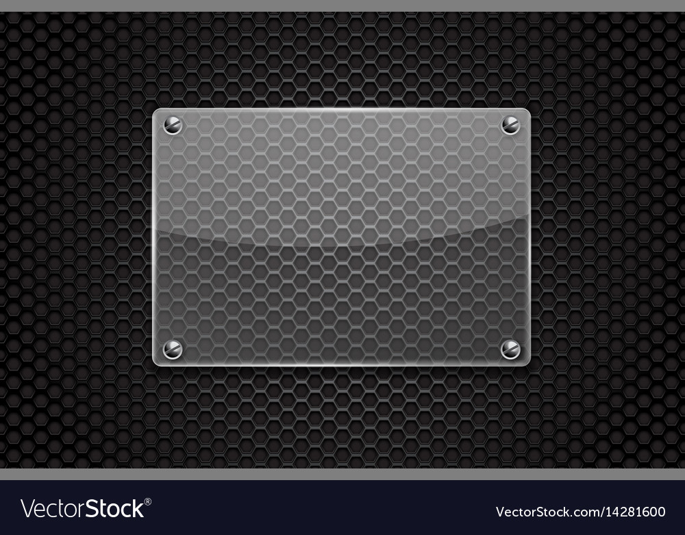 Transparent glass plate on dark metal perforated