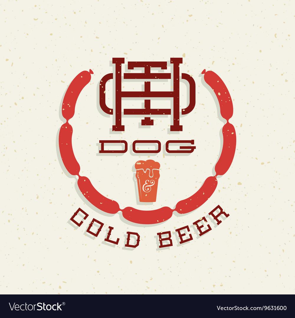 Vintage Hot Dog and Cold Beer Emblem Sign