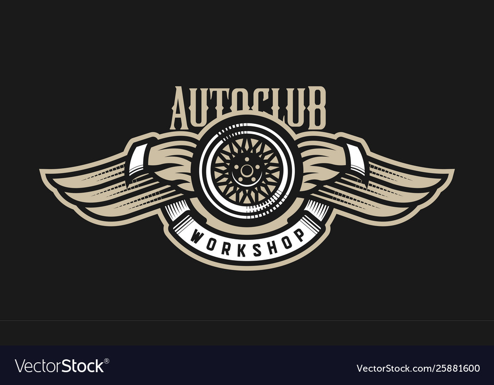Wheel and wings auto logo emblem on a dark