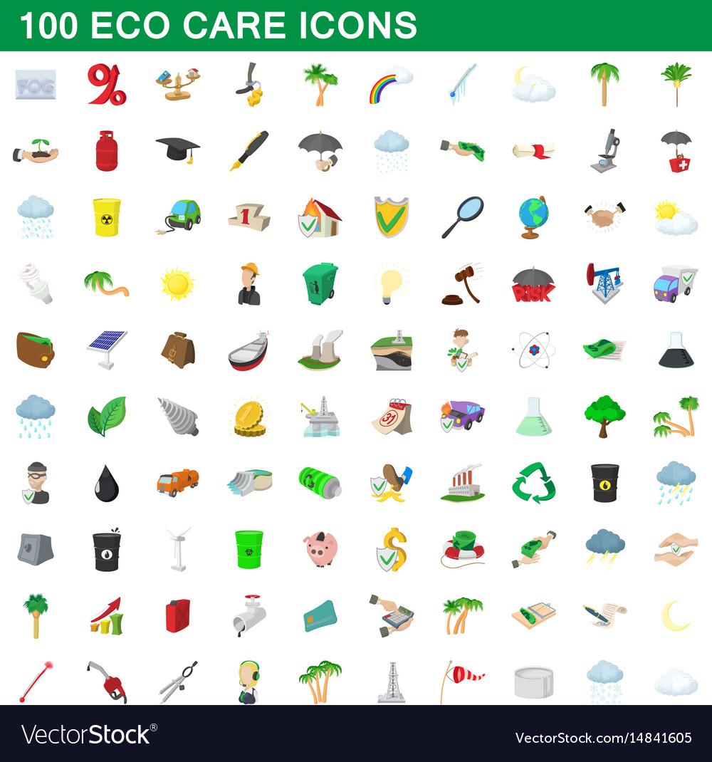 100 eco care icons set cartoon style