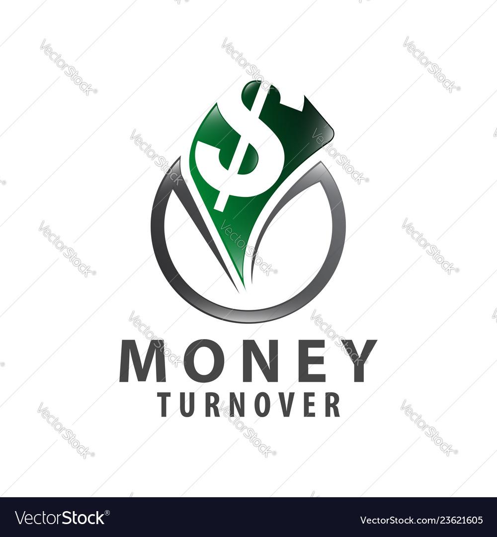 Circle money turnover logo concept design symbol