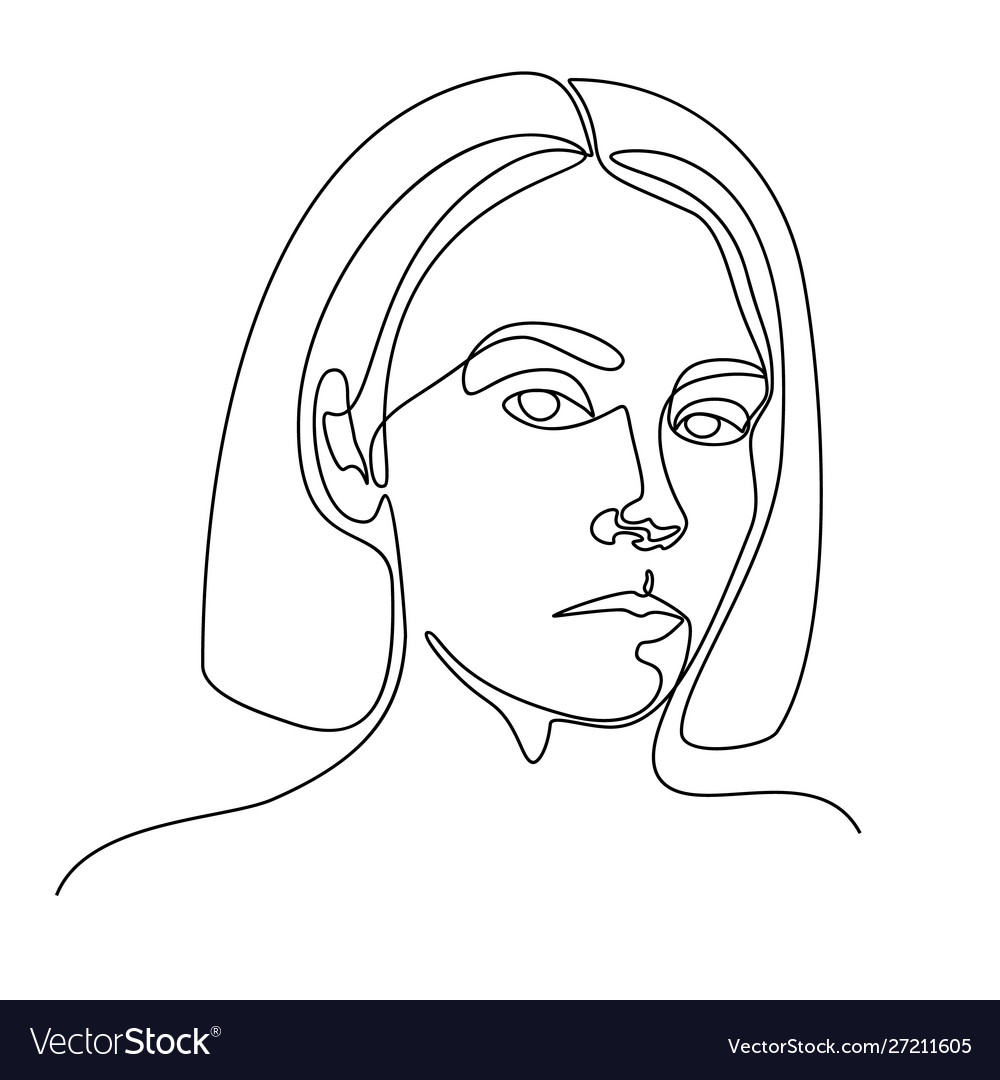 Continuous line drawing a girl portrait