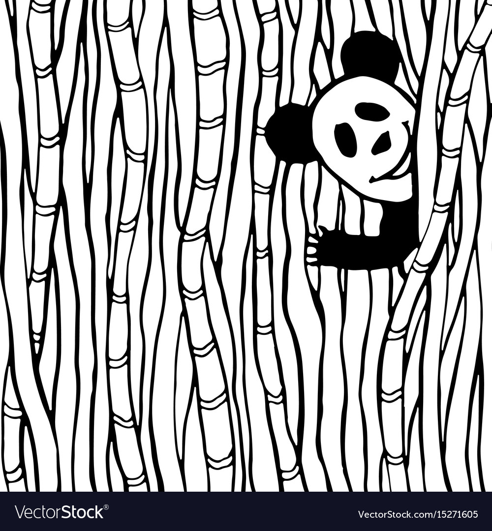 Funny panda in the bamboo forest coloring book